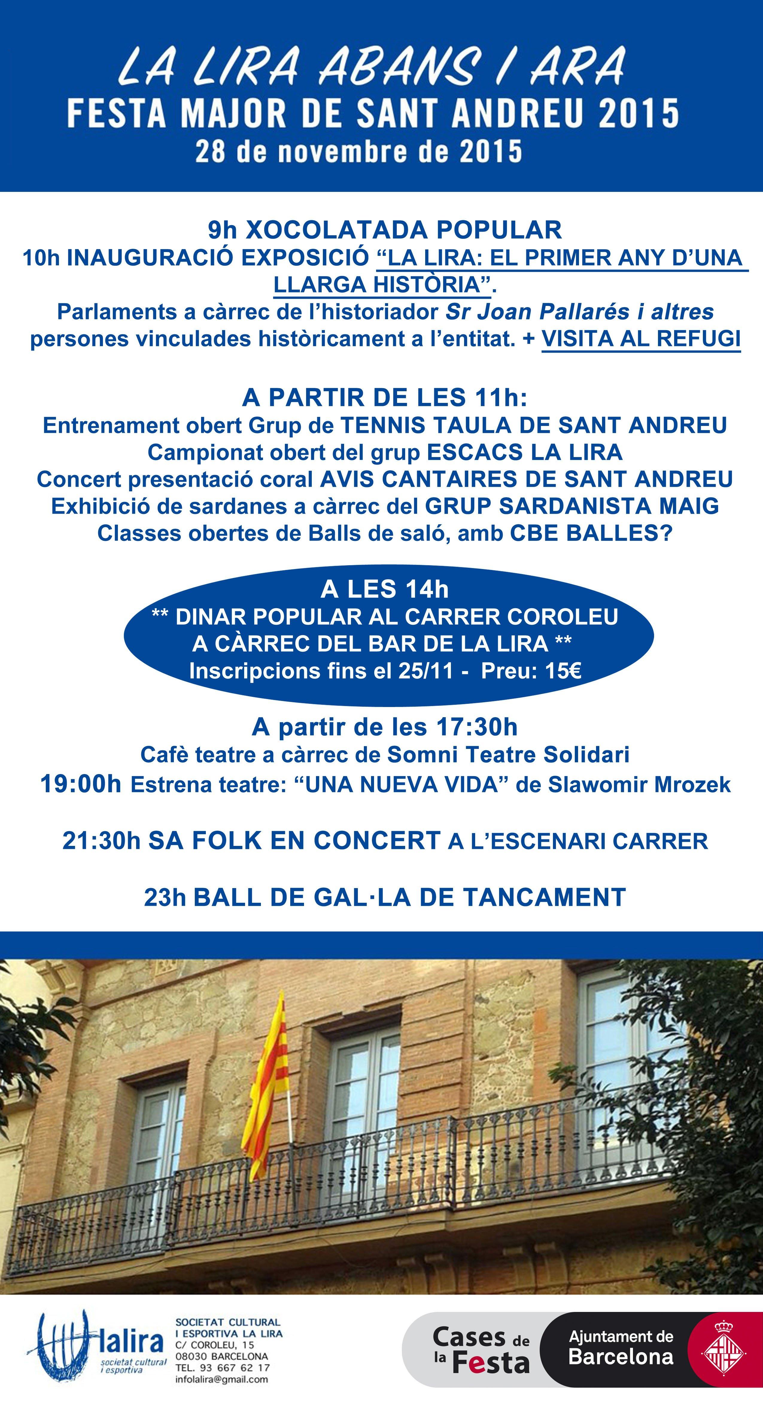 PROGRAMA DE FESTA MAJOR A LA LIRA – 28/11